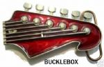 LEAD GUITAR HEADSTOCK (RED) Belt Buckle + display stand